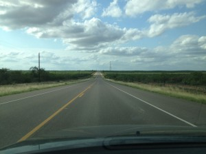 The bleak highway between Laredo and Eagle Pass is filled with shrub buses, natural gas well and oil wells. (Sergio Chapa/Borderzine.com)