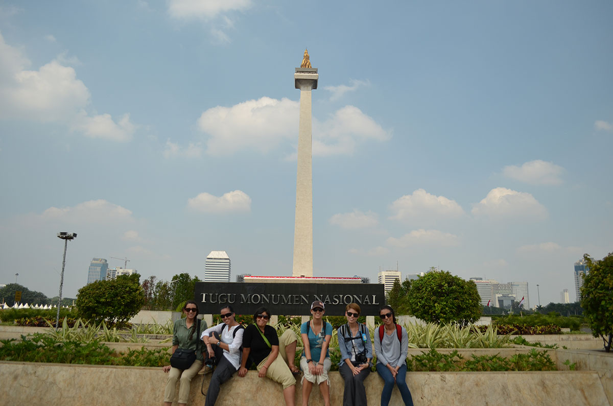 UTEP students during their trip to the National Monument in Jakarta, Indonesia, during their summer 2012 trip. (Left to right: Valeria Hernandez, Mitzel Garcia, Leslie Landin, Lauren Pace, Angela Vaughn and Cinthia Casillas)