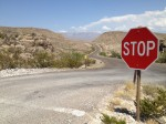 A stop sign in the middle of nowhere in Big Bend National Park. (Sergio Chapa/Borderzine.com)