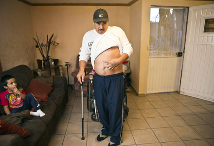 Jesus Castro Romo was shot in the side by Border Patrol Agent Abel Canales on Nov. 16, 2010. Photo by Nick Oza /The Republic