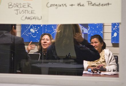 Maria Puga (cq) on left, a widow of Anastacio Hernandez Rojas (cq) with her mother in law Maria Rojas (cq) talking to her husbands case with her lawyers and activist in close door in SanDiego, Ca. Photo by Nick Oza /The Republic