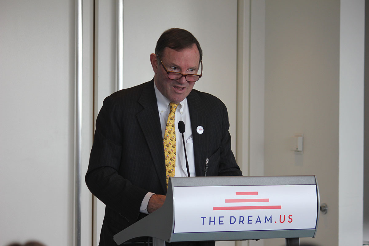 Donald Graham, CEO of Graham Holdings and co-founder of TheDream.US, introduces TheDream.US scholarship for DREAMers that will help 2,000 students over the next decade. He spoke on Tuesday at the Newseum about the importance of the scholarship program. (Alejandro Alba/SHFWire)