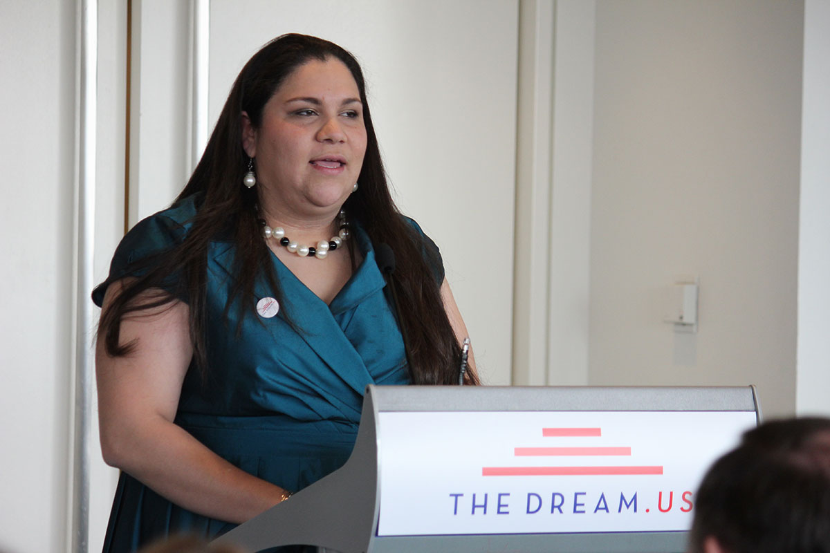 Gabby Pacheco, a DREAMer and program director for TheDream.US, shares her success story with fellow DREAMers. She said that being where she is a dream come true, and now it's her turn to help others have their wishes come true. (Alejandro Alba/SHFWire)