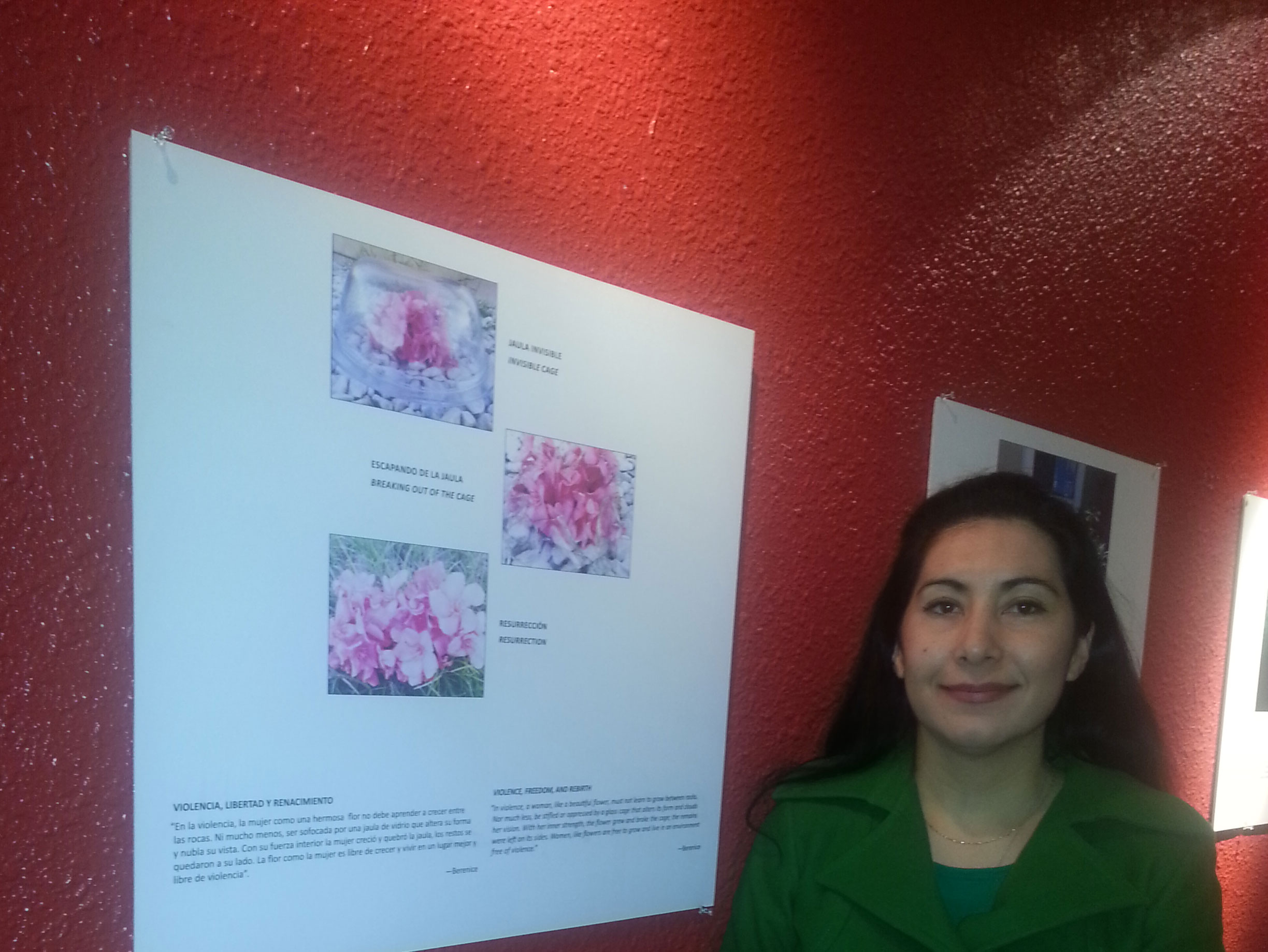 Berenice uses flowers to represent her experience as a victim of domestic violence. (Christy Ruby/Borderzine.com)