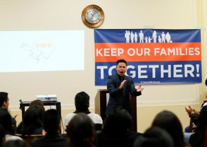 """United We Dream members rally in Rayburn House Office Building 2226 on Feb. 3. Some seventy supporters packed the room and shouted """"stand up, fight back,"""" loud enough for their voices to be echoed throughout the building. (Aaron Montes/Hispanic Link)"""