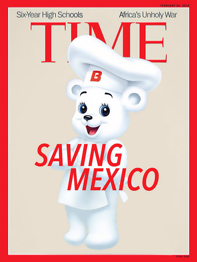 """Cover edits """"More likely to Save Mexico"""" by Luis Hernandez. Popular folk heroes of Mexico who have more of a chance of """"saving"""" the country than Peña Nieto. Osito Bimbo de Pan Dulce Bimbo. (Illustration by Luis Hernández/Borderzine.com)"""
