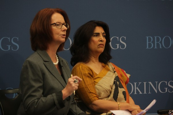 Julia Gillard and Urvashi Sahni