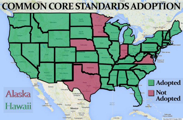 Forty-two states decided to use Common Core standards, starting in 2009 and 2010. Out of those states, many have chosen to join assessment consortium, which provide online testing related to the standards. For some rural schools, administering the online version isn't easy. (SHFWire graphic by Gavin Stern)