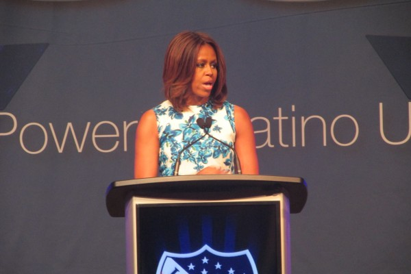 Michelle Obama addressing the LULAC convention. (©HispanicLink)