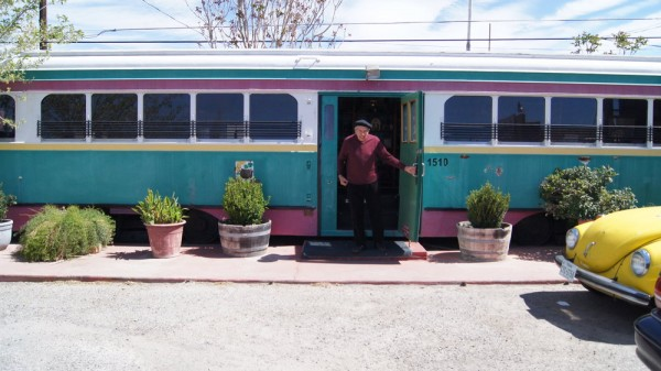 Raul Apodaca, owner of a streetcar located at S Mesa St and E 3rd Ave in downtown El Paso,  says he bought it in from the City in 1996. (Dashlee Ford/Borderzine.com)