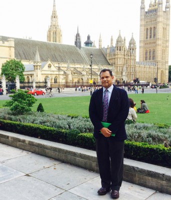 Dr. Arvind Singhal was invited to travel from El Paso to London to participate in a parliamentary panel on global public health policy Sept. 2, 2014.