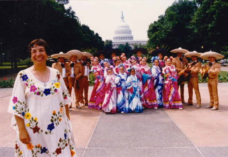 Rosa Guerrero traveling with her Folklorico group. Image from http://rosaguerrero.org/