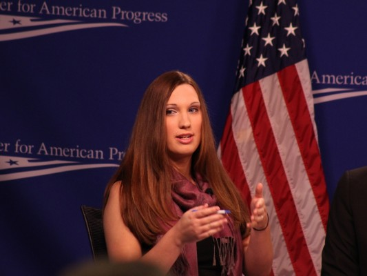 The Center for American Progress' Sarah McBride is the lead author of the group's new report about discrimination against LGBT people. The report gives statistics and anecdotes about discrimination in employment, housing and in public accommodations. SHFWire photo by Wesley Juhl