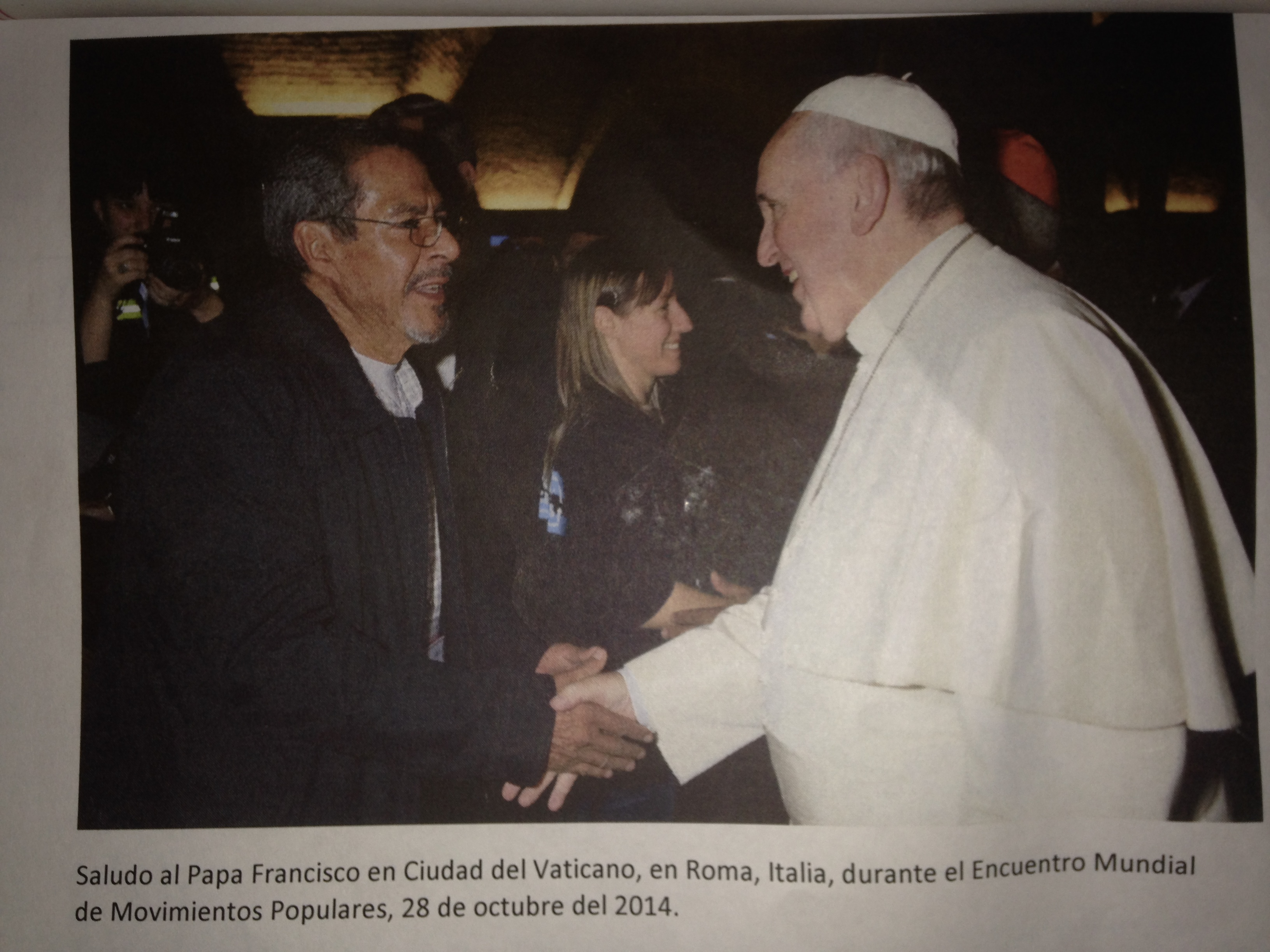 This is a photo of Carlos Marentes meeting the Pope on October 28, 2014. Photo credit: Jeraldine Ramos