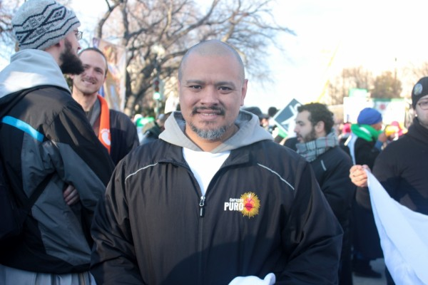 Father Agustino Torres, 38, leads the Latino X La Vida group Thursday during the March for Life. SHFWire photo by Jose Soto