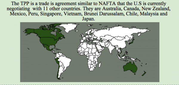 Chart of countries in the Trans-Pacific Partnership