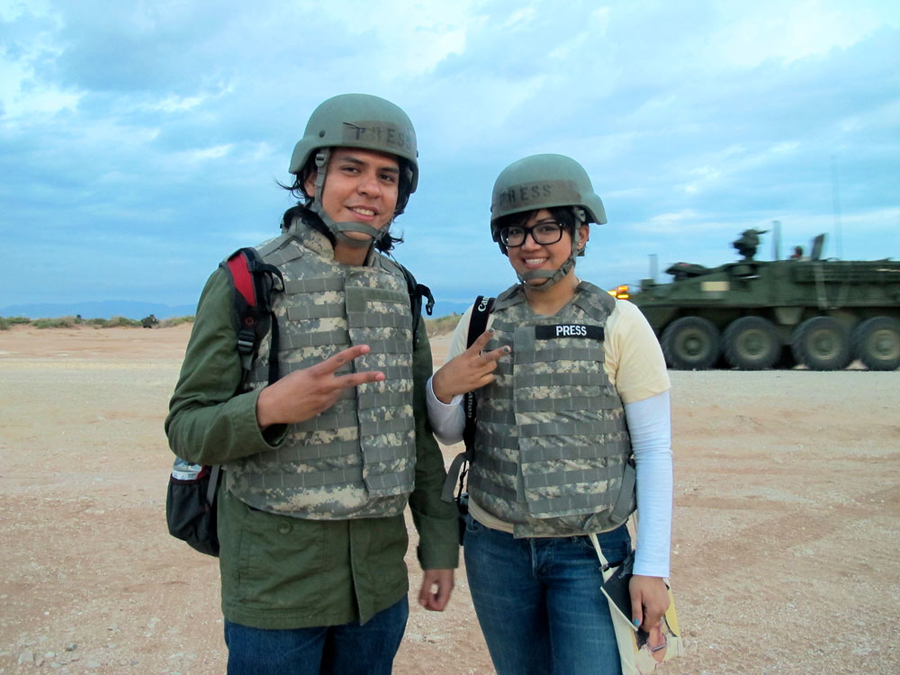 "While journalism students at UT El Paso, UTEP journalism students, Kristian and Danya Hernandez, participated in the ""Iron Focus"" tactical military training exercise at Fort Bliss. Photo by Alejandra Matos, Borderzine.com"