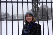 After a March 5 meeting was canceled because of a snow storm, Michele Beckley, an El Paso, Texas, businesswoman, walked from her hotel to the White House and had her picture taken with the South Lawn in the background. Photo courtesy of Michele Beckley.