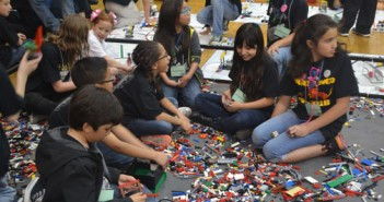 El Paso students get creative in the Lego pit at the Lego League robotics competition in the Memorial Gym at UTEP on Feb. 7, 2015. Photo by Alonso Moreno, Borderzine.com