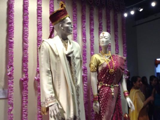A display of traditional Indian wedding clothing. Photo by Lorena Villela, Borderzine.com..