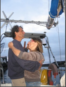 Titou and Cathy Bourdin aboard their sailboat in the Caribbean.