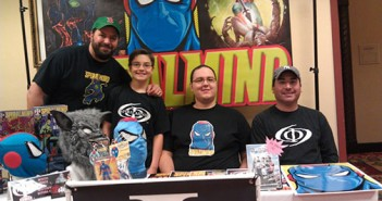 Phi3 Comics at Sun City SciFi Convention. From left, Matthew Rothblatt, Max Rothblatt, James Greene and Ben Perez.