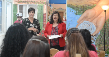 El Paso County Attorney Jo Anne Bernal awards Cycle for Change scholarships at Villa Maria. Photo credit: Estefania Seyffert