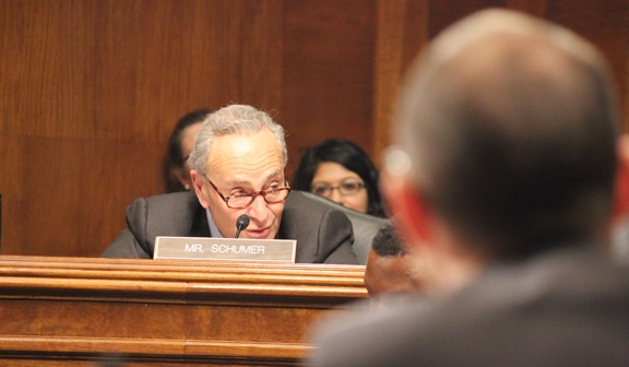Sen. Chuck Schumer, D-N.Y., questions witnesses Thursday about the economic impact of the H-1B program that has brought foreign workers to the U.S. to replace American workers. SHFWire photo by Luke Torrance