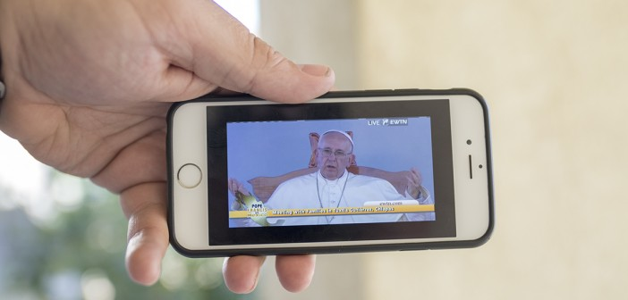 Pope Francis' mass in Mexico is live-streamed across the EWTN App Photo credit: Jorge Salgado