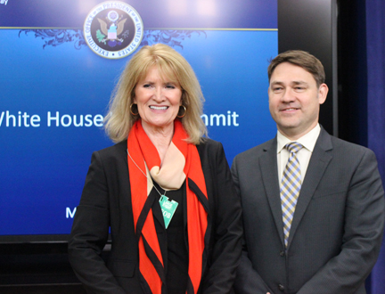 Melinda Kruyer, director of Confluence, and Michael Murphy, of Boston's New England Water Innovation Network, operate groups develop clean water technology. They attended the White House Water Summit in Washington on March 22. SHFWire photo by Luke Torrance