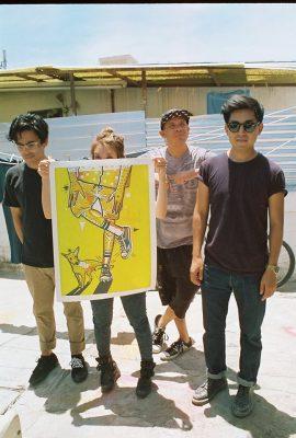 Kukui, tercero de izquierda a derecha, junto con el resto del colectivo Jellyfish. Tomada de su Facebook