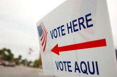 Vote Aqui sign