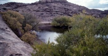Water-filled basin in Hueco Tanks. Photo courtesy of Texas State Parks and Wildlife.