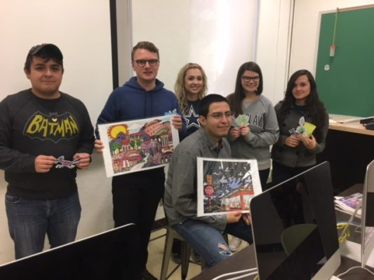 Borderzine staff for the fall 2016 semester honored for their work on elections, environment coverage and other top stories and social media. From left, Jorge Camargo, Jack Price, Stephanie Shields, Heriberto Garcia, Nora Rausch and Leslie Borrayo.