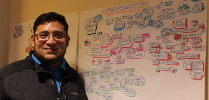Omar Sosa-Tzec, PhD candidate in Informatics at Indiana University Bloomington, sketched out ideas from the NCA discussion on environmental justice and shared them with attendees.