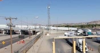 A line of semi-trailers wait  to move through Customs recently after reaching the Bridge of the Americas port of entry from Juarez to El Paso. The port processes an average of 100,000 vehicles and pedestrians each day.