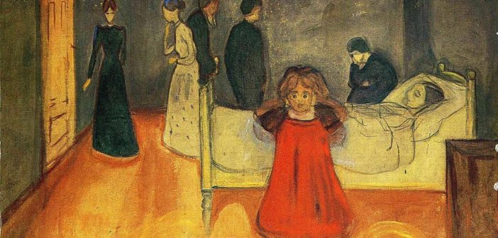 Edvard Munch, The dead mother and chiild [Public domain], via Wikimedia Commons