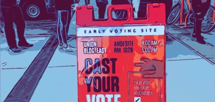 Stylized image of voters standing in line and Vote Today sign in foreground