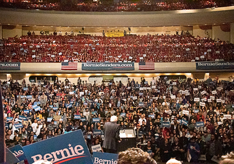 View from stage of crowd filling Abraham Chavez Theatre for Bernie Sanders rally in El Paso