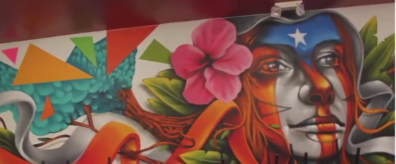 Restaurant wall painting of Puerto Rico inspired images