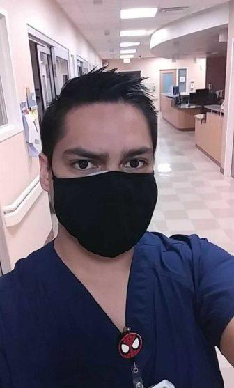 El Paso Nurse Mario Murillo wearing a face mask