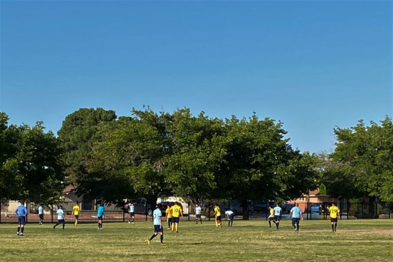 Dynamo soccer team playing on the Cielo Vista park.
